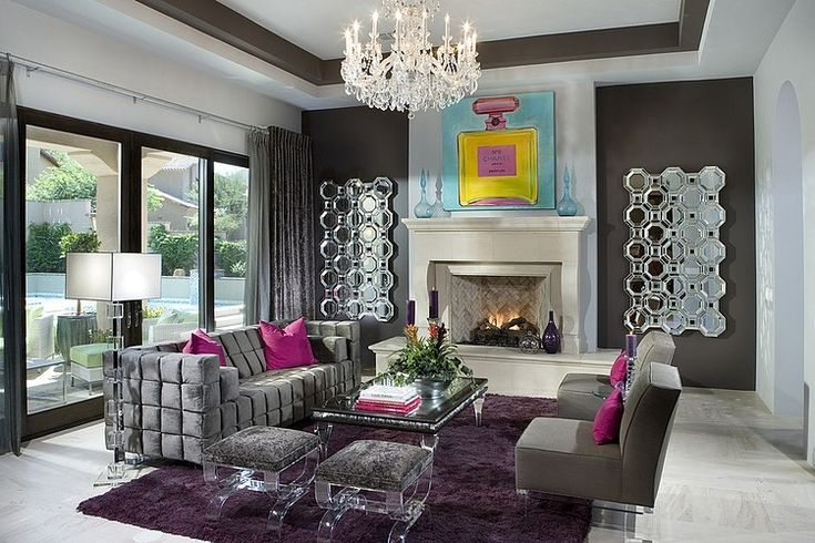 Hollywood Regency interior of a Spanish style house, from Silverleaf Residence by Simpson Design Associates