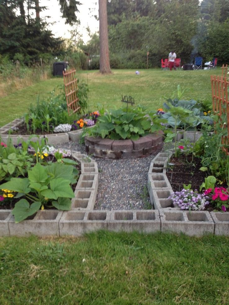 cinder block garden layout
