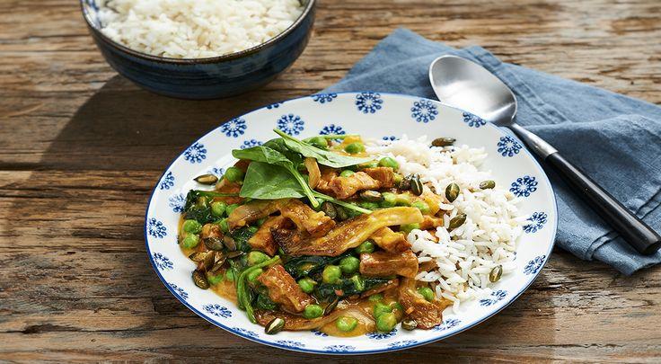 29 Toverrijst met Lassie Cambodjaanse pompoensaus, tofu en oesterzwam