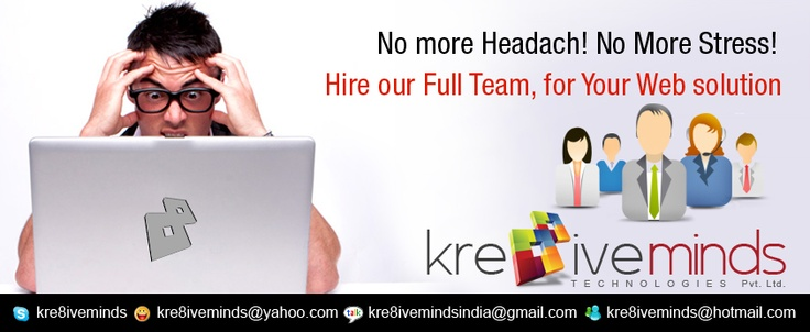 For Complete Web Solution..Hire Our Dedicated Team...  See more details at our website... http://www.kre8iveminds.com/