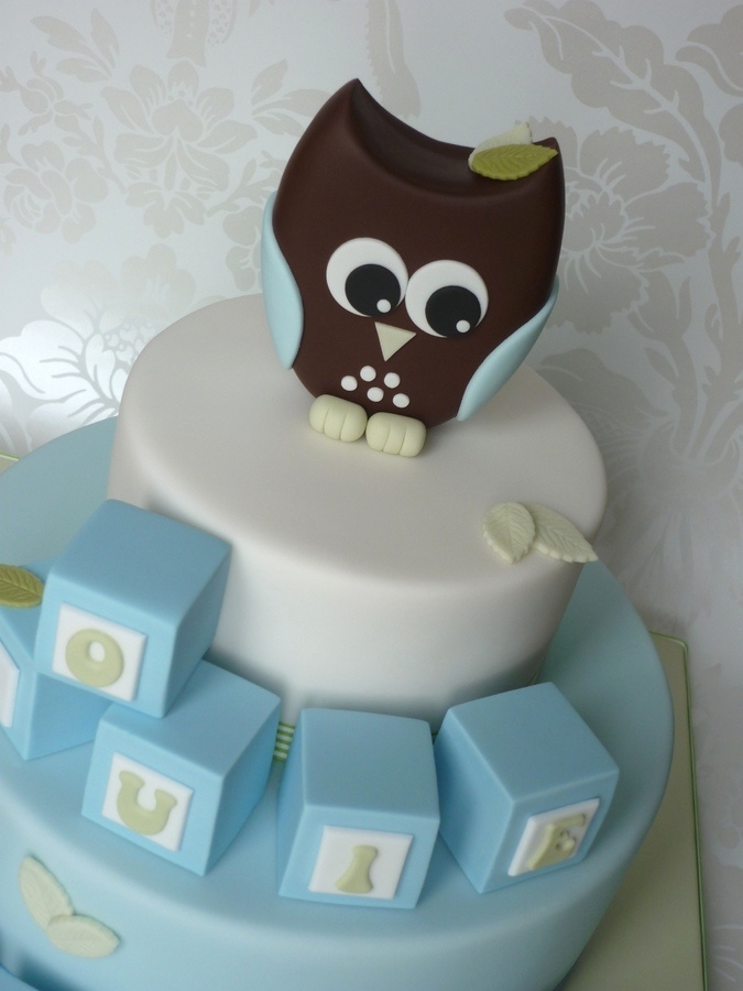 I have written a tutorial on how to make the owl and the blocks for the new SugarEd Productions website launching later this year.    This cake was also featured on Half Baked - The Cake Blog. See www.thecakeblog.com :)    Owl is hand modelled from fondant mixed with CMC/Tylose powder.