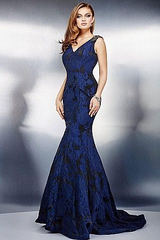 Navy Cap Sleeve Trumpet Dress 28890