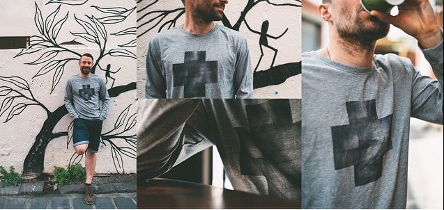 NEW! designed + individually hand-painted ➕one industrial mens tees by Claire Webber, Hobart, Tasmania (also available in white) For more info email: webberclaire1@gmail.com   Image courtesy of  Two Birds Tweet  www.twobirdstweet.com.au on Instagram, face book + twitter