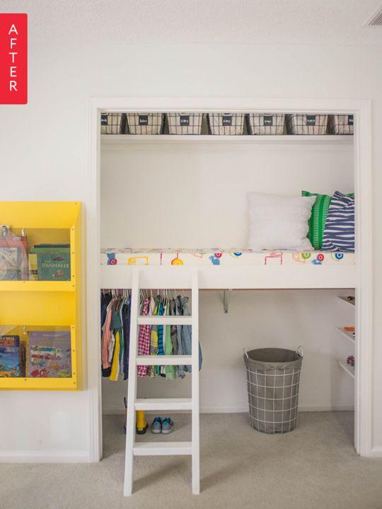 lit en hauteur, kids bedroom, jaune, échelle