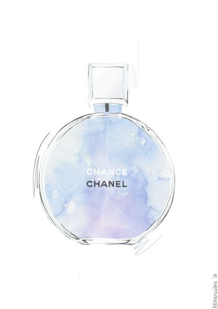 Chanel Chance purple and blue perfume illustration by RKHercules.
