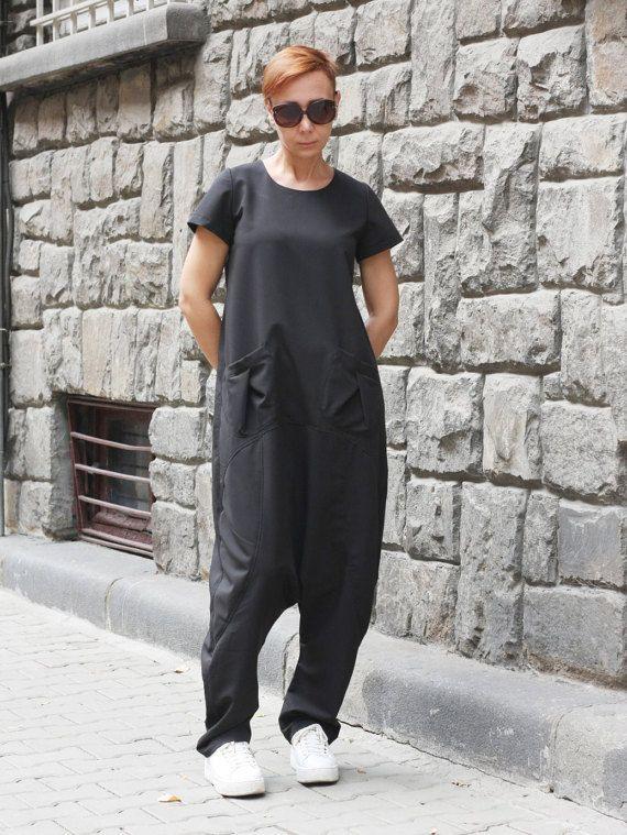 Black drop crotch jumpsuit / Sleeve Harem jumpsuit / by CARAMELfs https://www.etsy.com/shop/CARAMELfs