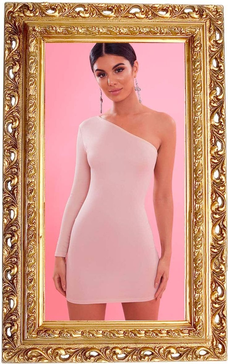 Nude Crepe One Sleeve Bodycon Dress DressThis nude bodycon in a crepe fabric is one to add to you...