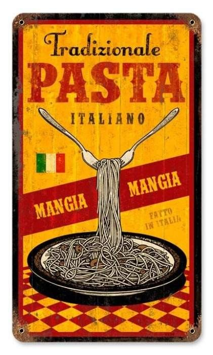 Vintage and Retro Wall Decor - JackandFriends.com - Vintage Traditional Pasta Metal Sign, $35.97 (http://www.jackandfriends.com/vintage-traditional-pasta-metal-sign/)