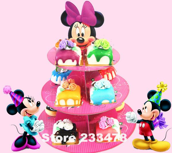 Free shipping 1 sets girl's cartoon anime Minnie birthday baby shower party cardboard cupcake stand hold 24 cupcakes AW-1002