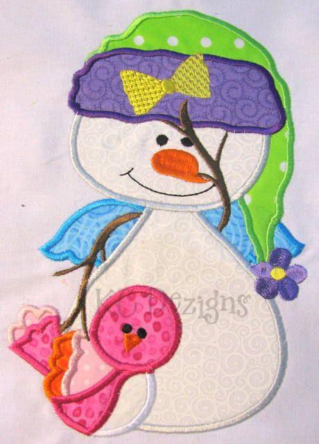 Winter Snowman 02 Machine Embroidery Applique Design by KCDezigns, $3.50