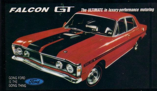 This is the Dream of Most Aussie Muscle Car Lovers & Collecters, a XY GT Falcon with its 351 Cleveland V8 with its Shaker Scoop.  Magazine Advert.
