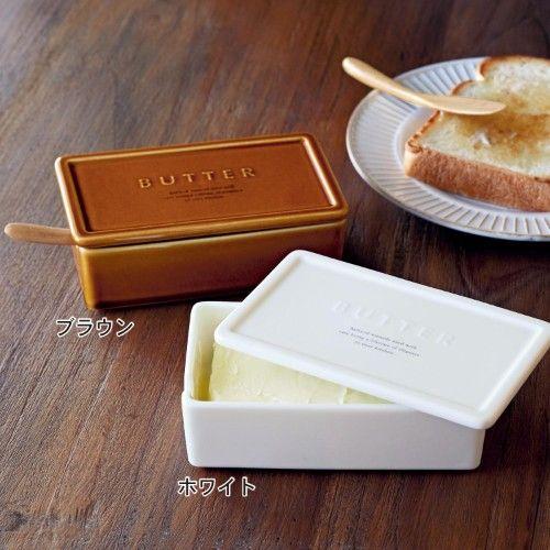 磁器のバターケース&木製ナイフセット