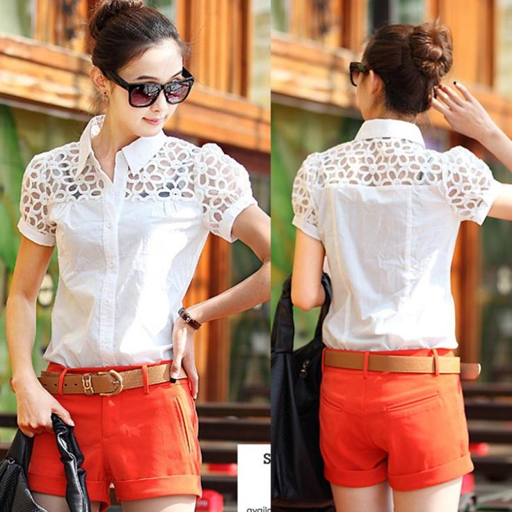 Plus Size Clothing Summer Embroidered Lace Stitching Short Sleeve Shirt Turn-Down Colloar Blouse White Shirt Women's Tops