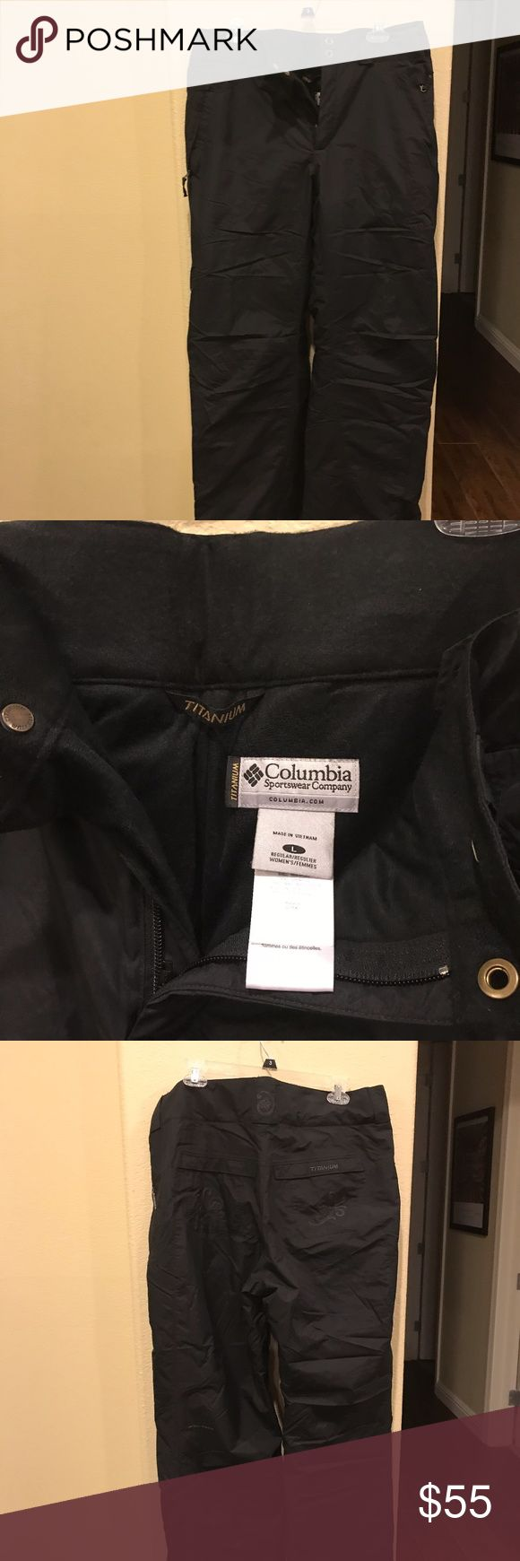 Columbia Sportswear Titanium Snow Pants In great condition! These are essential for your all of your winter activities! Get one of the highest quality outerwear brands at a steep discount. They are warm and waterproof! I wear smalls in everything but with layers and extra room I got these in a Large. Probably best for the medium wearer or a small depending on how many layers you have!  Goes great with the neon green jacket I have as well! Columbia Pants
