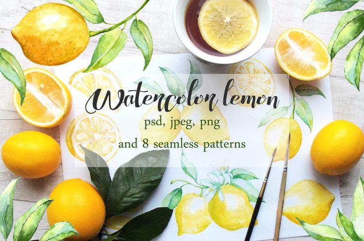 Watercolor lemon set. by Olga Ponomarchuk on @creativemarket