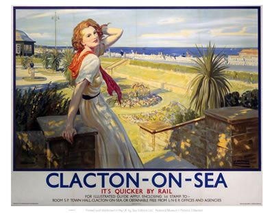 Clacton Girl with Red Hair White Dress