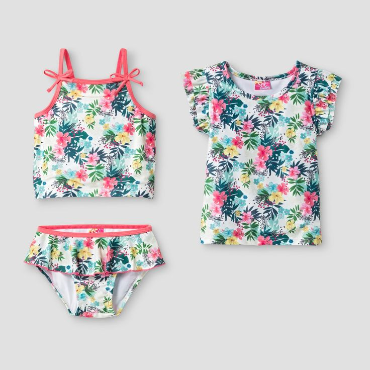 Dress her for paradise with the Toddler Girls' Sol Swim Paradise 3-Piece Rash Guard Set - Multicolor. This toddler girls' swimsuit set comes with a tankini and matching rash guard – perfect for all day fun in the sun.