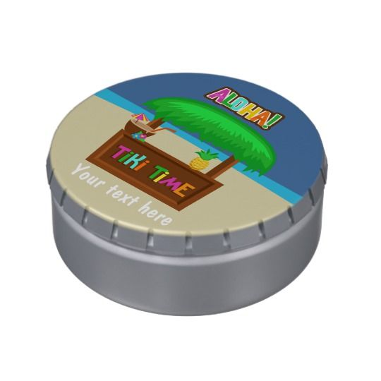 Kids Hawaiian Luau Party Personalized Jelly Belly Candy Tin