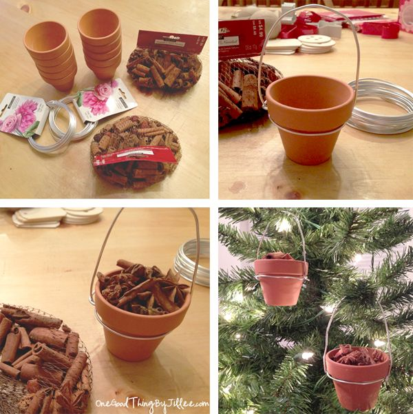 Make your own simple hanging pot ornaments!  Fill with potpourri or a flickering tea light.