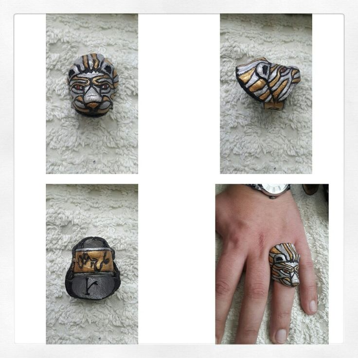 Leather works rings lion got consept