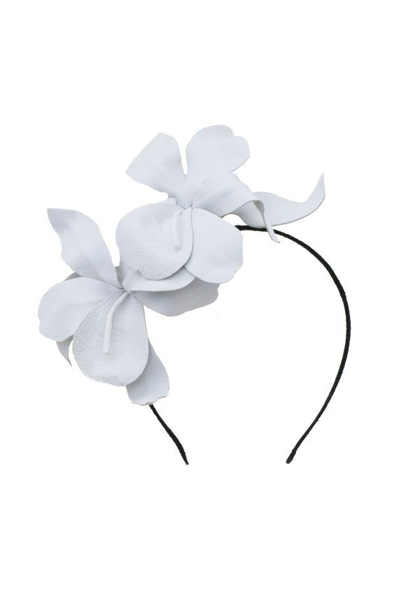 White Orchid Headband Leather Flower by MaggieMowbrayHats