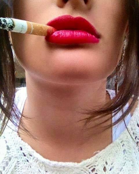 Lipstick cigarette smoking fetish