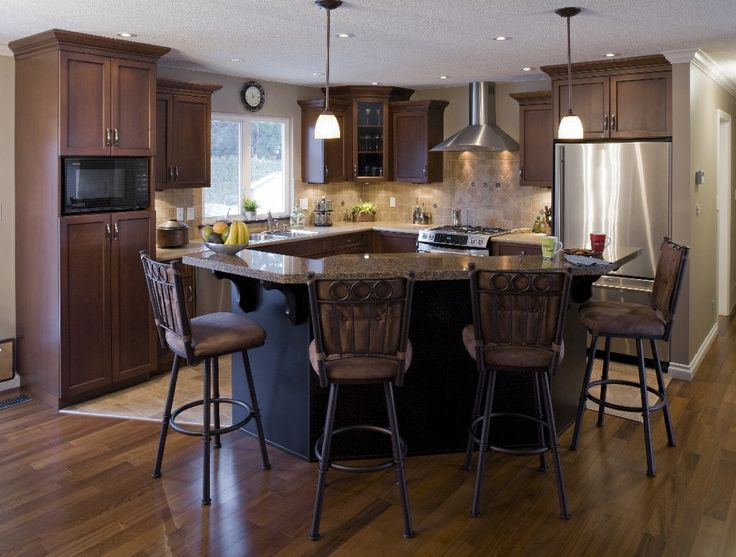 Open kitchen concept with seating area.