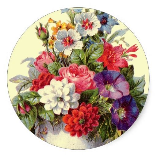 Floral Art Round Sticker
