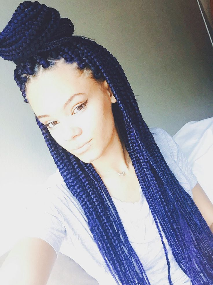 Box braids. Blue. Protective style.