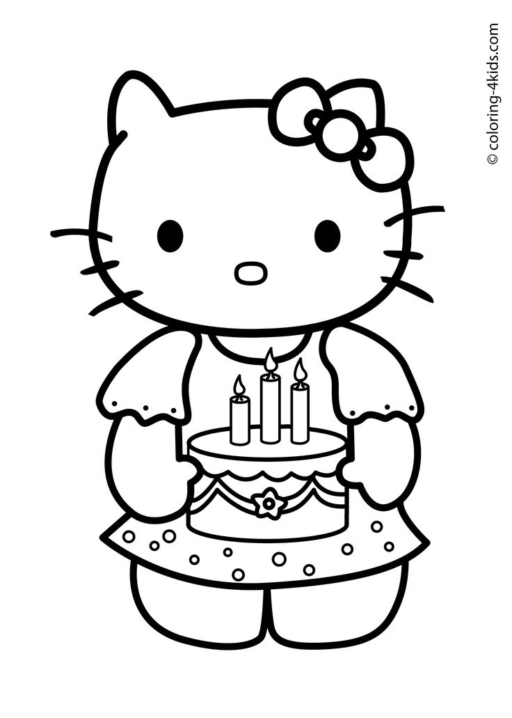 Hello Kitty Happy Birthday Coloring Pages Pinterest Hello Birthday Coloring Pages