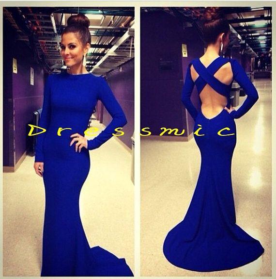 Hot Mermaid Blue Prom Dress Chiffon Backless Prom Dresses Custom Made Long Evening Dresses Evening Dress on Etsy, $119.00
