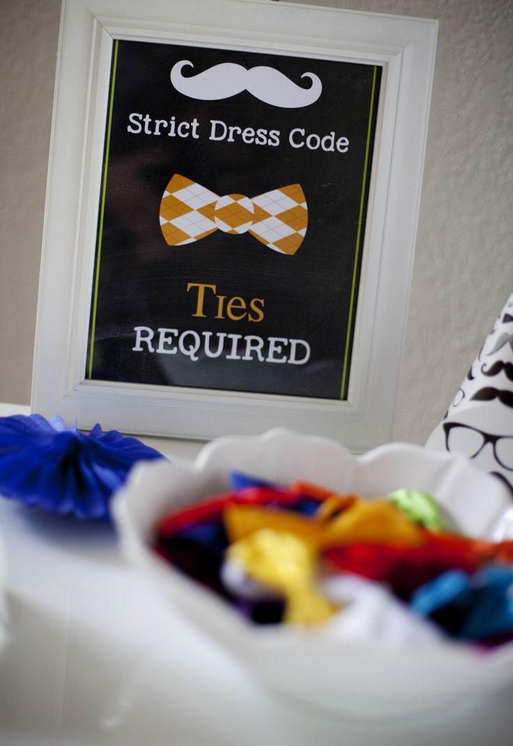 """Bow tie bar at a Little Man Hipster Theme Birthday party; """"Strict Dress Code Ties Required"""""""