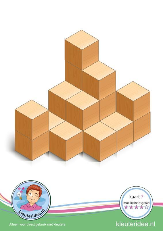 Bouwkaart 7 moeilijkheidsgraad 4 voor kleuters, kleuteridee, Preschool card building blocks with toddlers 7, difficulty 4, free printable.