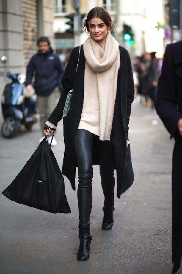 Black coat, beige scarf sweater, black leggings, shoes. Street winter fall autumn women fashion @roressclothes closet ideas: