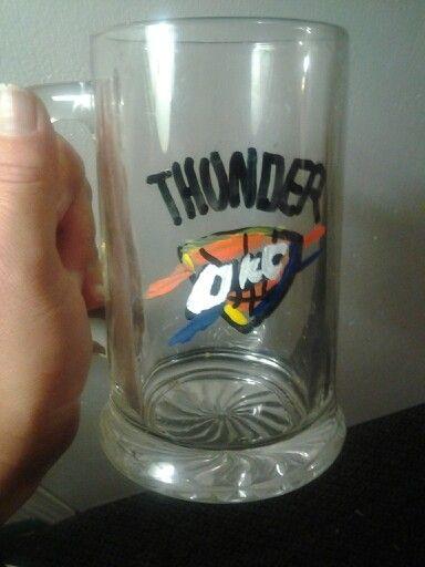 Hand painted OKC Thunder beer mug