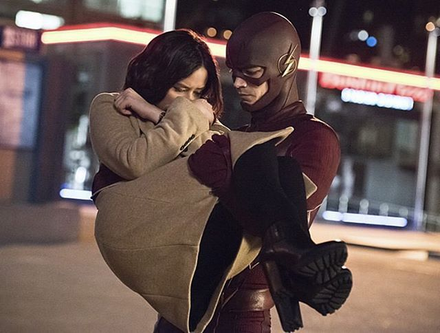 Damsel in distress moment. Thanks for being there @grantgust ⚡️Tonight's episode is my personal fav! #TheFlash