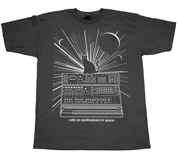 Cats On Synthesizers In Space  Grey T-Shirt by KieranHeather