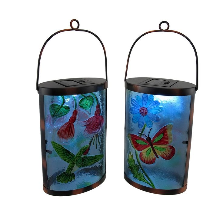 Set of 2 Glass Butterfly and Hummingbird Solar LED Garden Lights - Multicolored