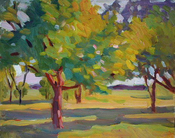 Garden, oil on board, 24 x 30 cm, (9″ x 12″), plein air painting #pleinairpainting