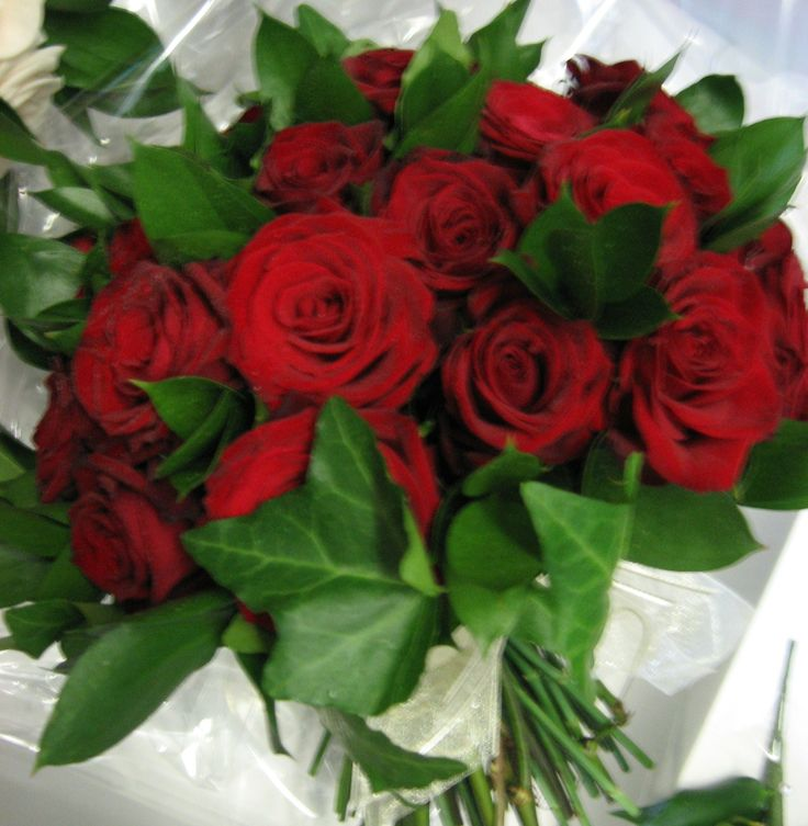 Fresh flower red rose and foliage bouquet.