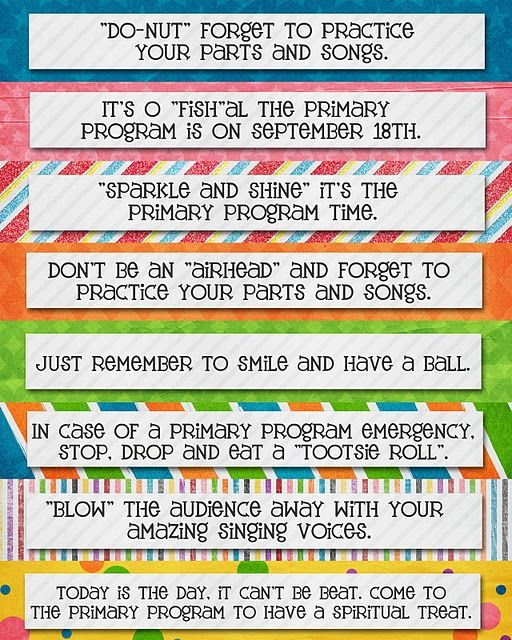 SINGING TIME IDEA: Primary Program count down continued