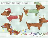 Christmas Sausage Dogs / Dachshund / Doxie - Digital Clip Art for Personal and Commercial Use