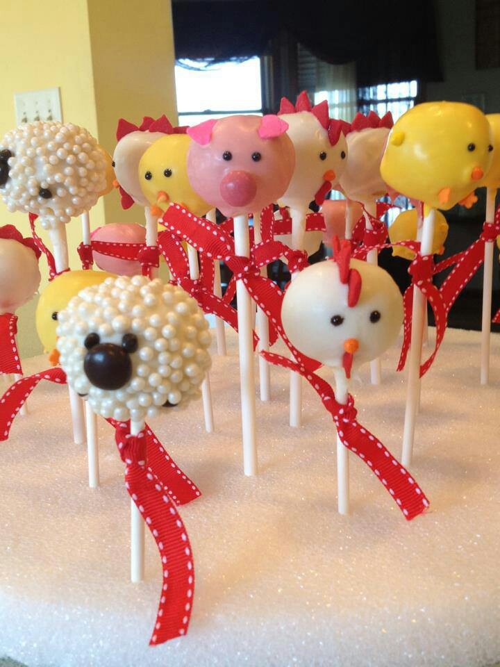 Barnyard party cake pops