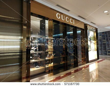 Kuala Lumpur, Malaysia - February 2, 2017: Exterior view of Gucci Outlet at Suria KLCC. It is located in the Kuala Lumpur City Centre district in the vicinity of the landmark the Petronas Towers.