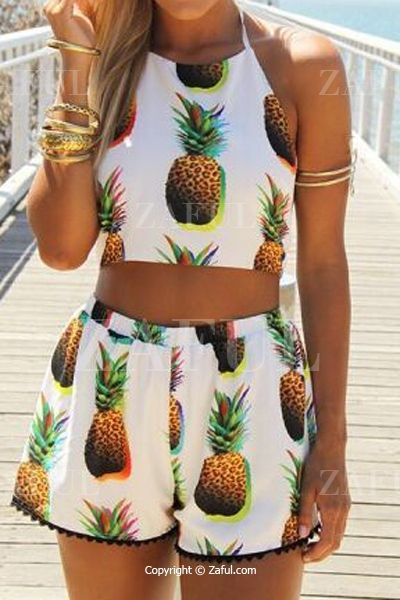 Pineapple Print Halter Crop Top And Shorts Suit WHITE: Shorts | ZAFUL