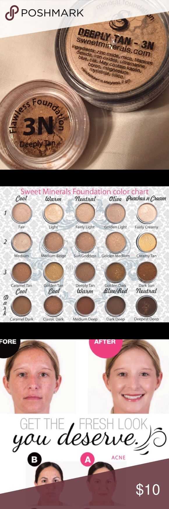 Flawless foundation! Tan complexion, neutral tone Flawless foundation!! All natural, not cakey! No fillers like bismuth, talc, and also paraben-free. Cruelty free. Better than Bare Minerals (4 hour wear) and this lasts up 18 hours (or longer)! I've been using this brand for 3 years and I will never switch to anything else. It's never cakey and because there's no bismuth or talc, it's never itchy and it feels light as air. This has the best coverage you'll ever see without feeling heavy…