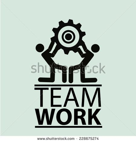 team work illustration over color background