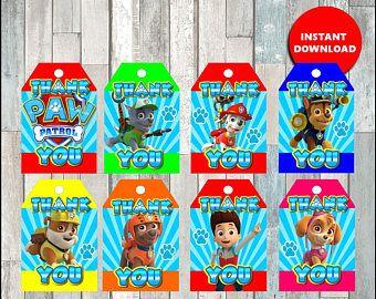80% OFF Printable Paw Patrol Thank you Tags instant download, Paw Patrol party Tags, Printable Paw Patrol Gift Tags