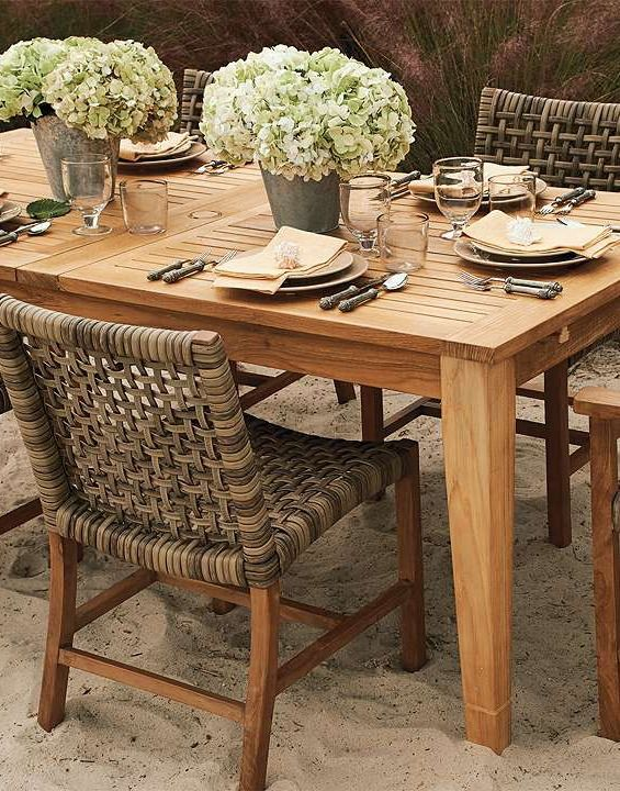 Settle Down Onto A Beautifully Open Weaved Chair While You Dine On A  Handsome Teak Table
