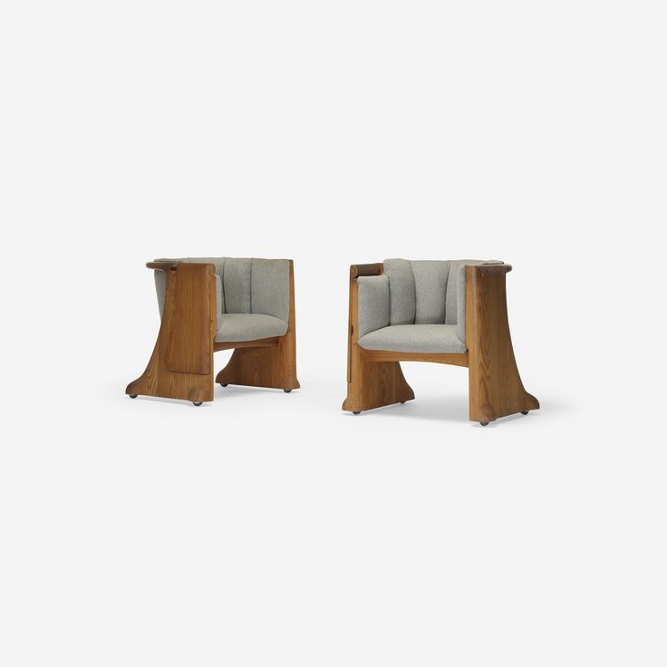 Lot 278: Wendell Castle. Gannett Boardroom chairs, pair. 1975-1977, carved oak, upholstery, casters. 32 w x 27 d x 28½ h in. estimate: $20,000–30,000. Each chair features a flip-top writing surface. Provenance: Gannett Company, Inc. Rochester, NY | John Quinn, Cocoa Beach, FL | Thence by descent